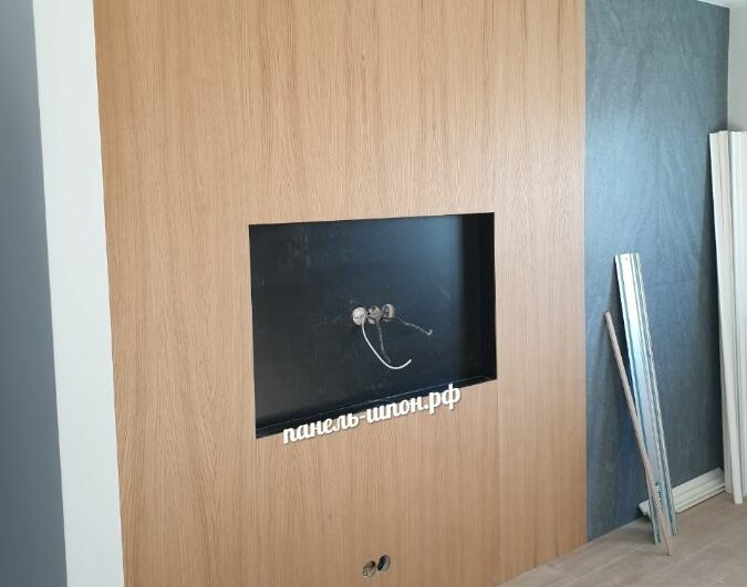 Стеновые панели шпонированные с нишей под телевизор