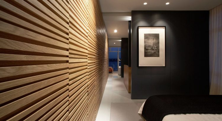 Декоративные рейки на стене в интерьере