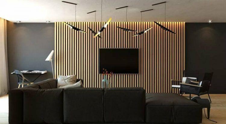 Реечная стена в гостиной